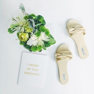 Shoes - 🆕 Kara Gold Satin Bow Slides Mules Sandals Flats